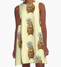 Hamster with Big Daisy, Original Art, Dotted Background A-Line Dress