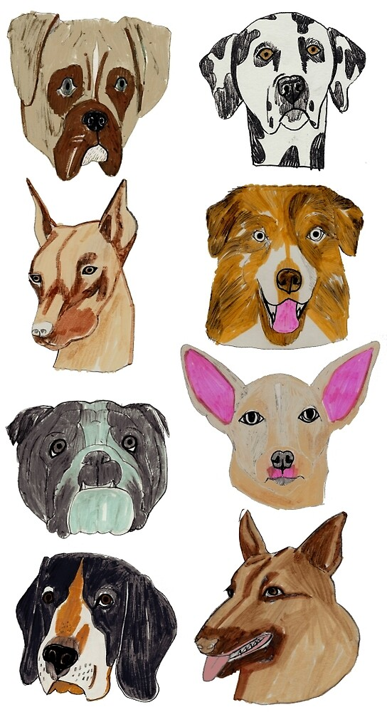 Dog Breeds, Stacked Heads by penwork