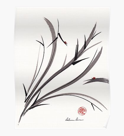 """""""My Dear Friend""""  Original ink and wash ladybug bamboo painting/drawing Poster"""