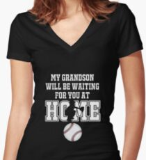 Baseball Catcher Products: My Grandson will be Waiting for You At Home Women's Fitted V-Neck T-Shirt