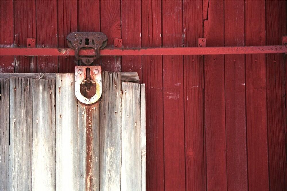 Rustic Rural Country Red Barn Door by christianadams