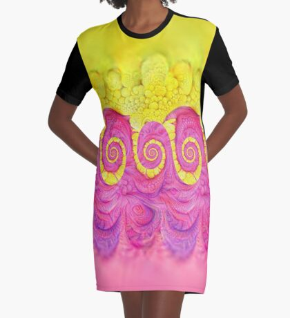 Yellow and Pink Graphic T-Shirt Dress