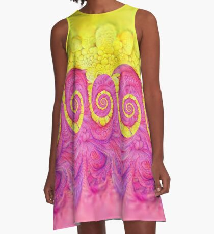 Yellow and Pink A-Line Dress