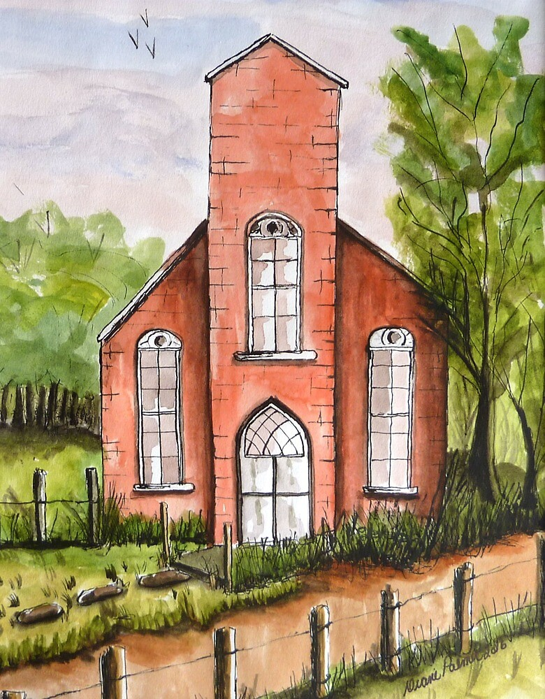 Country Church Watercolor by DianePalmerArt