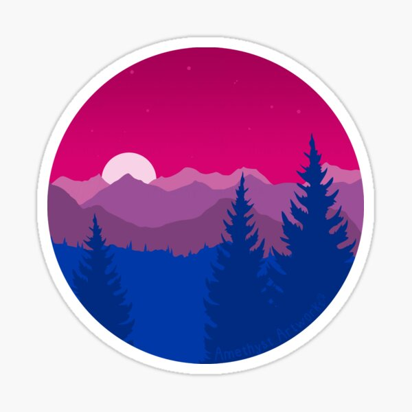 Subtle Bisexual Pride Flag Mountainscape  Sticker