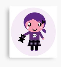 Little emo girl drawing - vintage purple style character Canvas Print