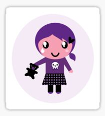 Little emo girl drawing - vintage purple style character Sticker