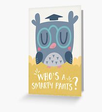 Smart Owl Character and Card Design Greeting Card