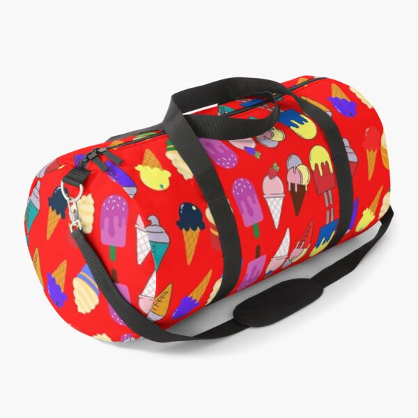 Ice Cream Flavour Red Background Duffle Bag