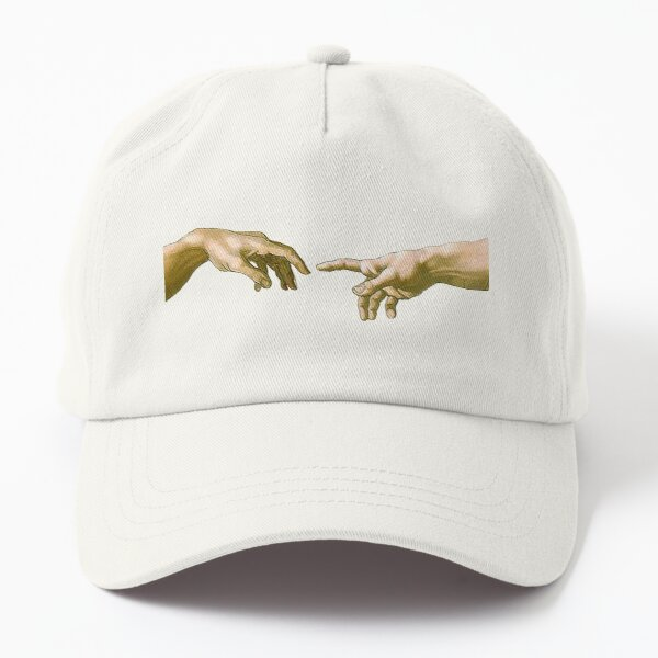 Touch of God, The Creation of Adam, (close up), Michelangelo, 1510, Genesis, Ceiling, Sistine Chapel, Rome, on BLACK. Dad Hat