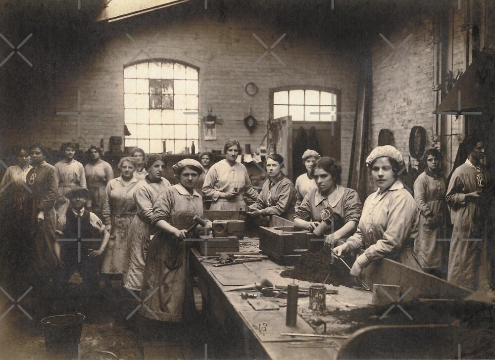 Women Workers at Bench WWI by diane  addis