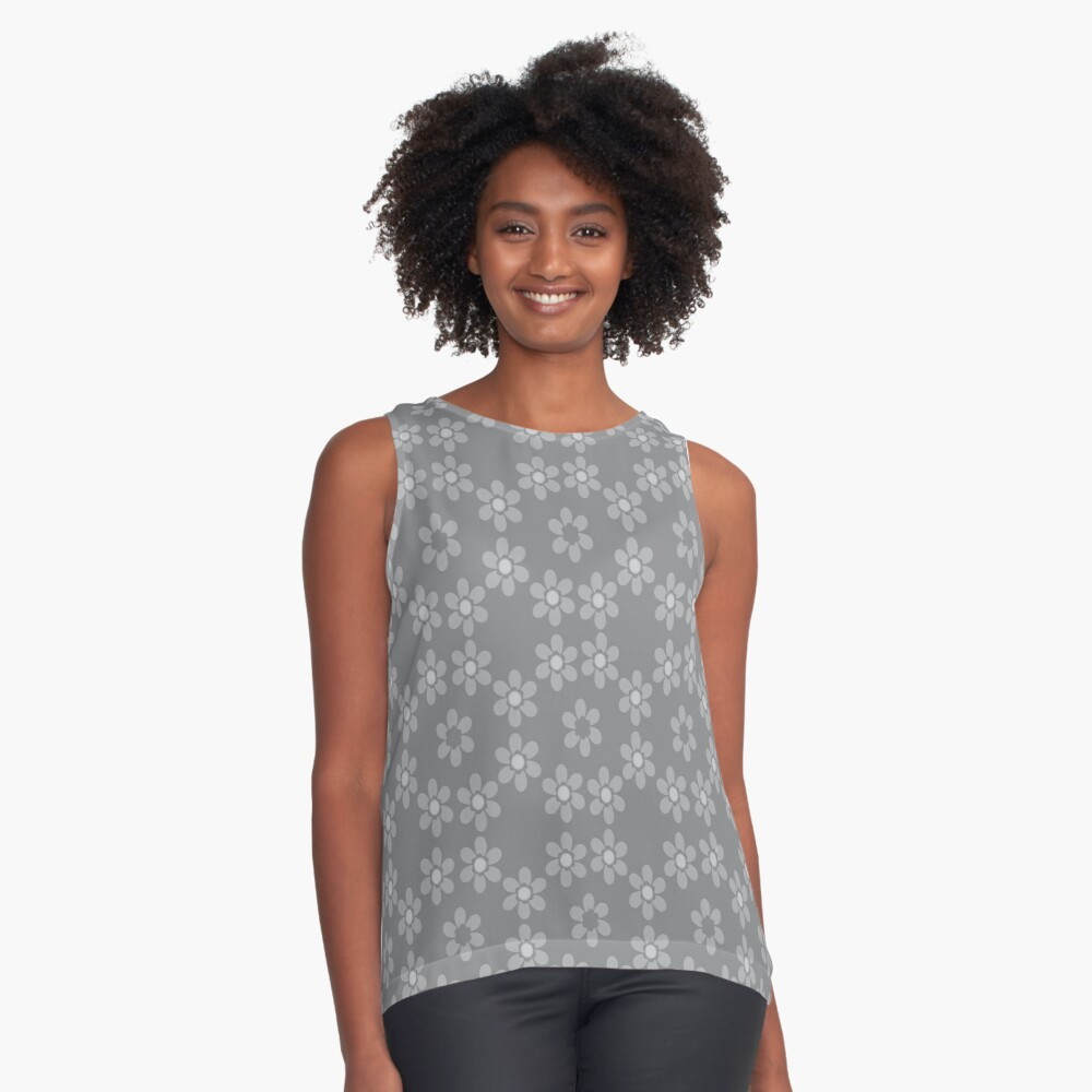 Grey pattern Contrast Tank Front