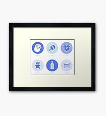 Baby boy blue icons collection Framed Print