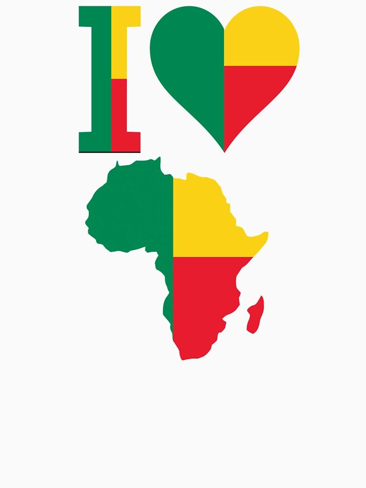 I love Benin flag Africa map by mamatgaye