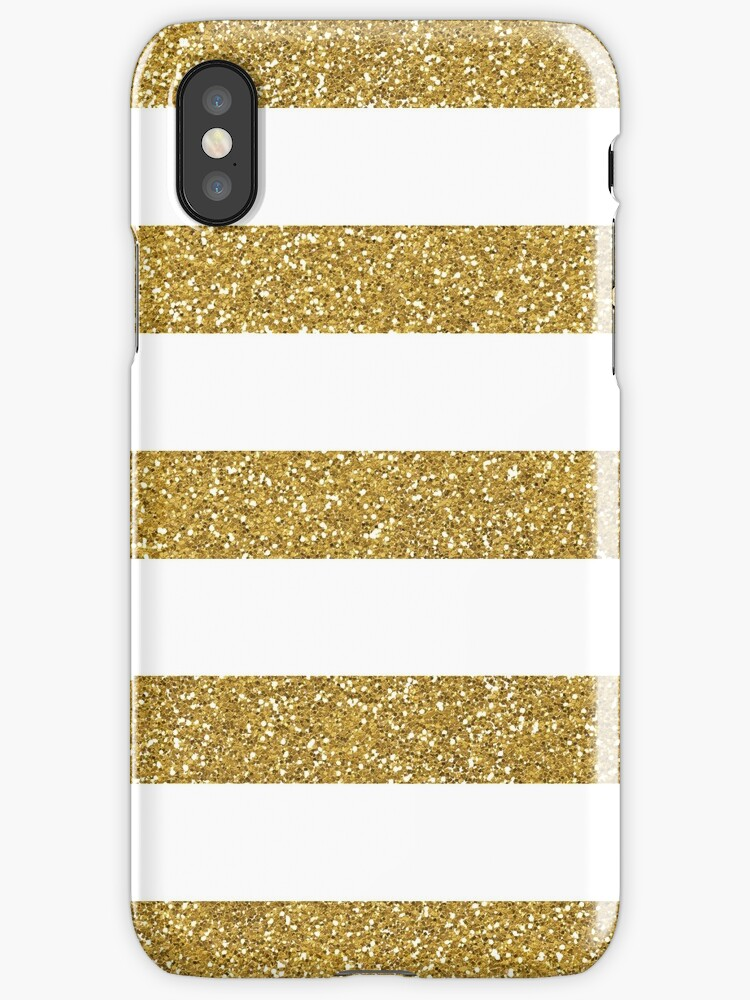 Gold Glitter Stripes by Caroline Leskiw