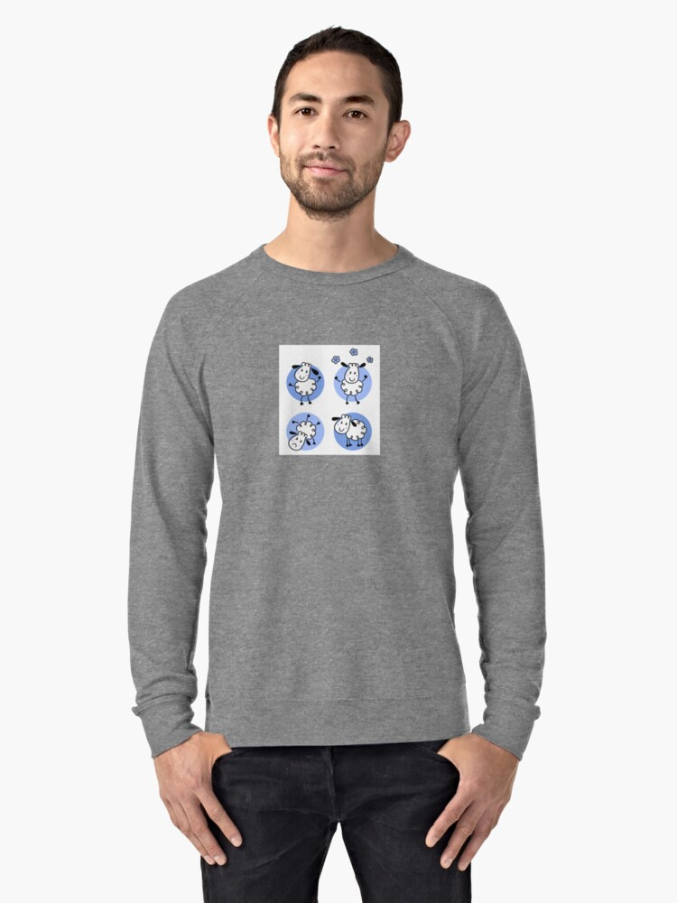 Happy doodle sheep set : nice little sheeps Original designers Edition Lightweight Sweatshirt Front
