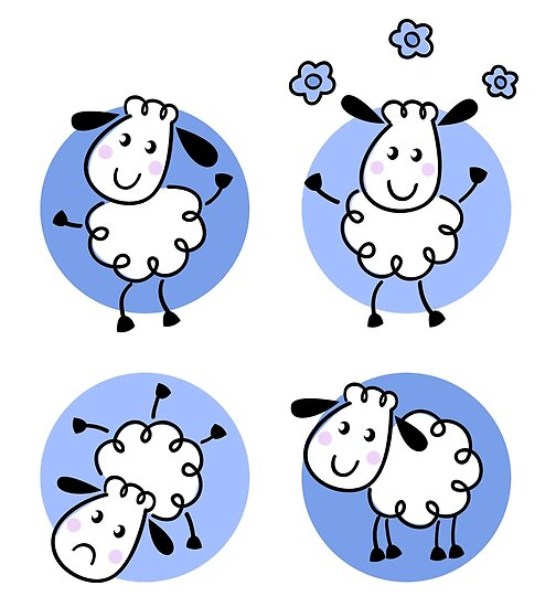 Happy doodle sheep set : nice little sheeps Original designers Edition by Bee and Glow Illustrations Shop