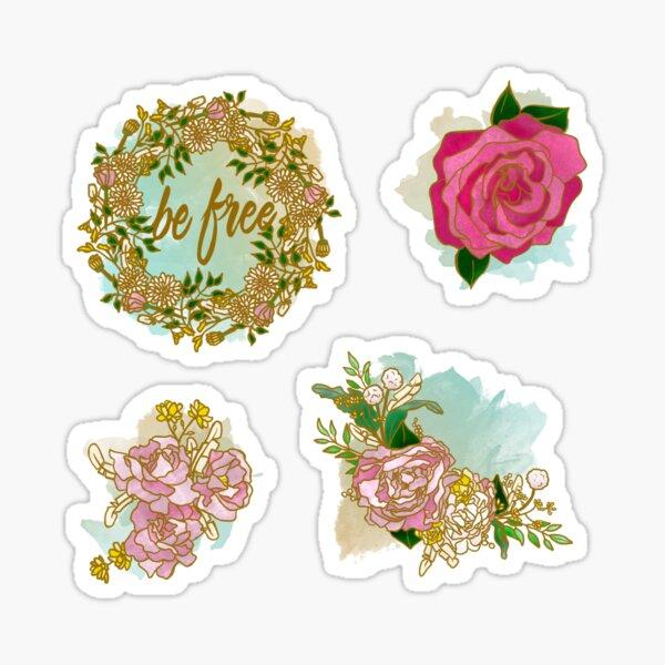 """Be Free"" Boho Flowers Sticker"