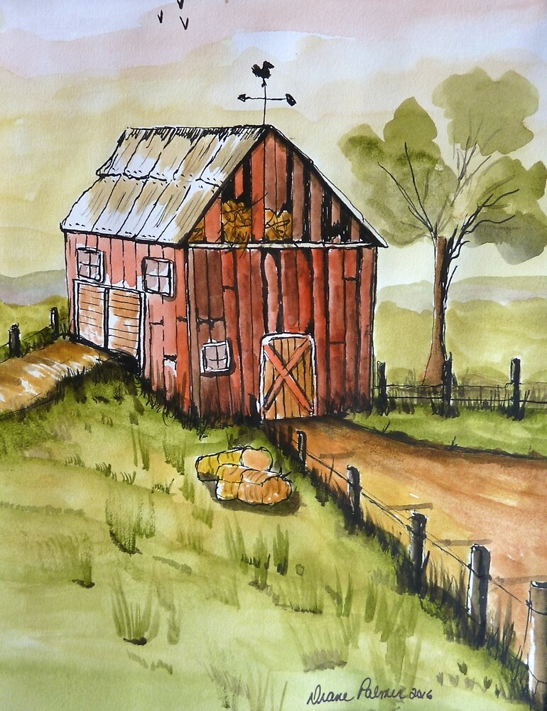 Countryside Old Red Barn by DianePalmerArt