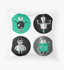 Happy robots friends badges - Designers Special Edition in our Shop Throw Pillow