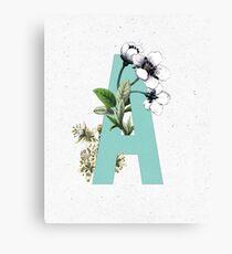 Botanical Alphabet - Letter 'A' Canvas Print