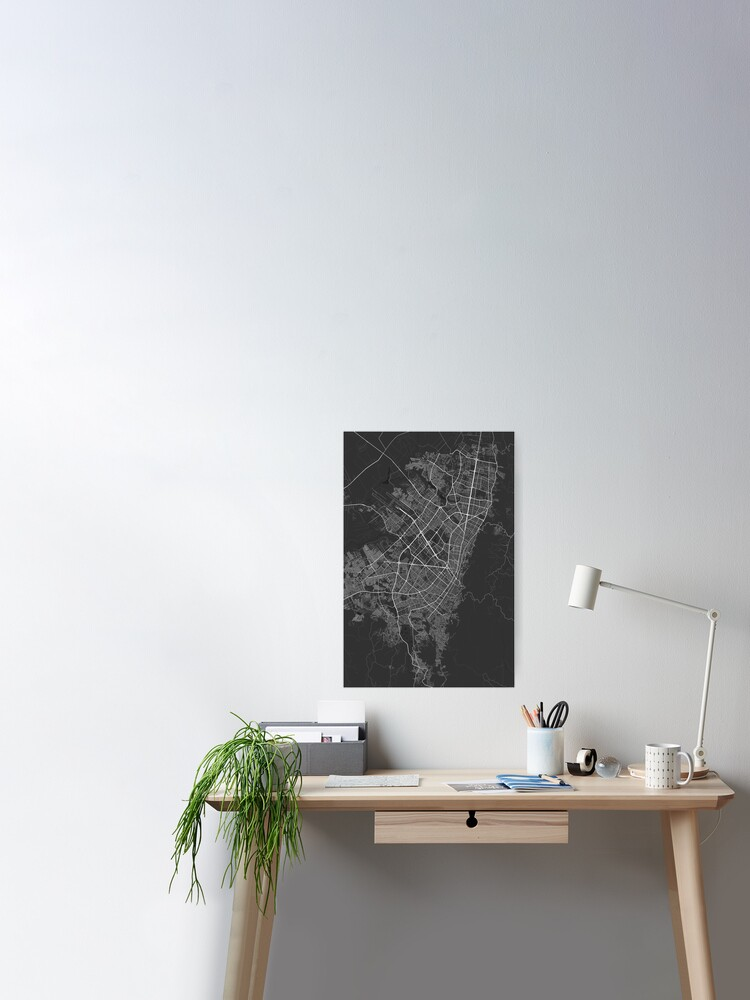 Bogota, Colombia Map. (White on black) | Poster