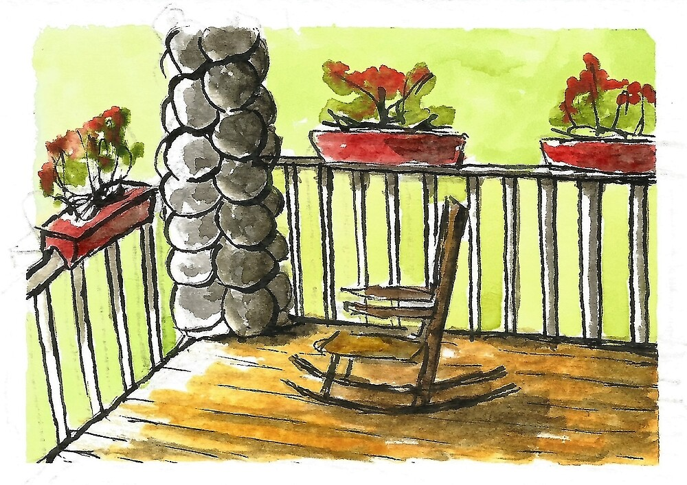 Peaceful Front Porch Rocking Chair by DianePalmerArt