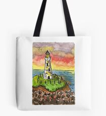 Beautiful Sunset with Light House Tote Bag