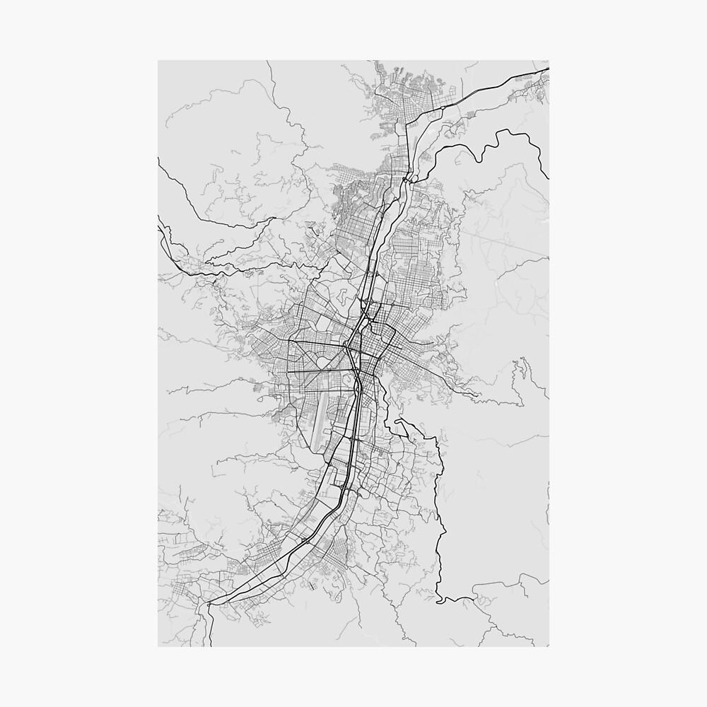 Medellin, Colombia Map. (Black on white) Fotodruck