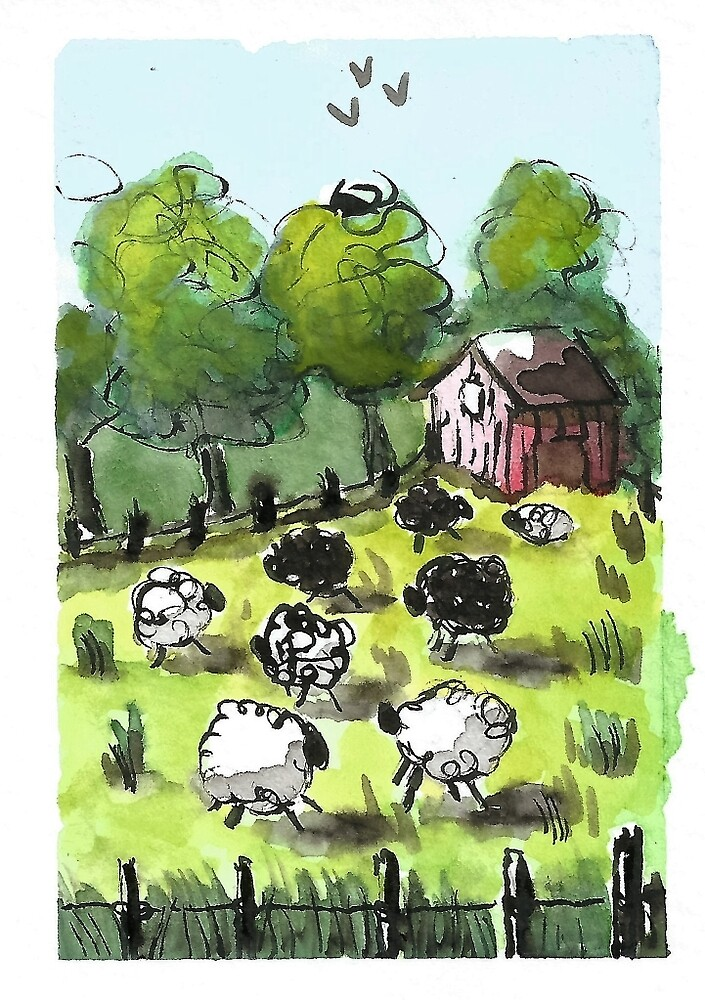 Having a Sheep Party by DianePalmerArt