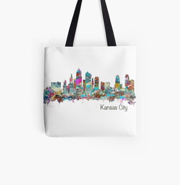 Kansas City Skyline - Color All Over Print Tote Bag