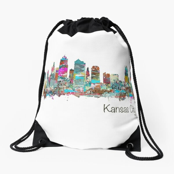 Kansas City Skyline - Color Drawstring Bag