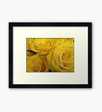 Snuggling Yellow Roses Framed Print