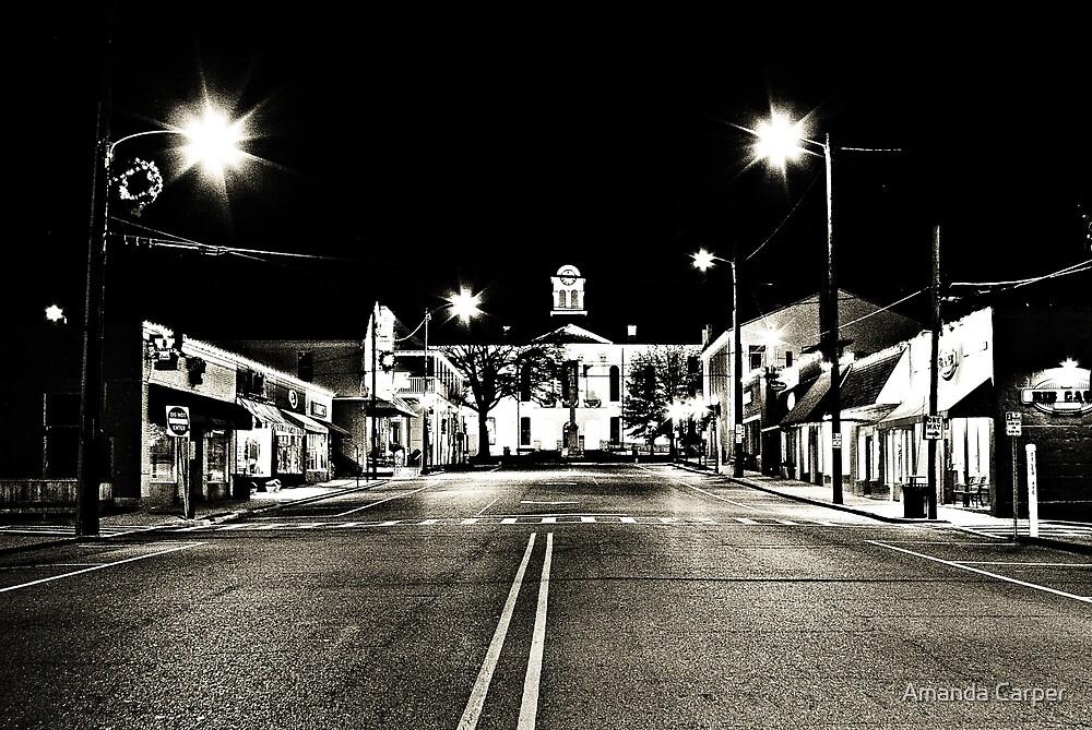 Oxford Square at Night BW by Amanda Carper