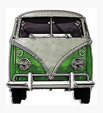 Green Split window bus Photographic Print