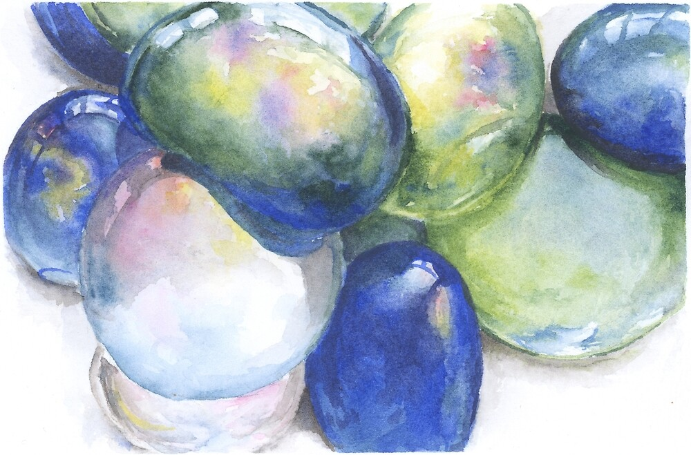 Watercolor Decorative Glass Gems by purple-mango