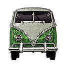 Green Split window bus by Tony  Bazidlo