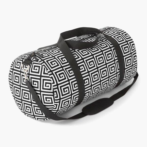 Greek Spiral Pattern | Greek Key Pattern | Classic Patterns | Vintage Patterns | Black and White |  Duffle Bag
