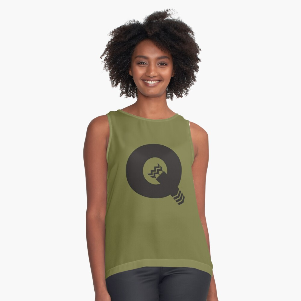 Q is for Quiver - Black Contrast Tank Front
