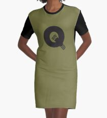 Q is for Quiver - Black Graphic T-Shirt Dress