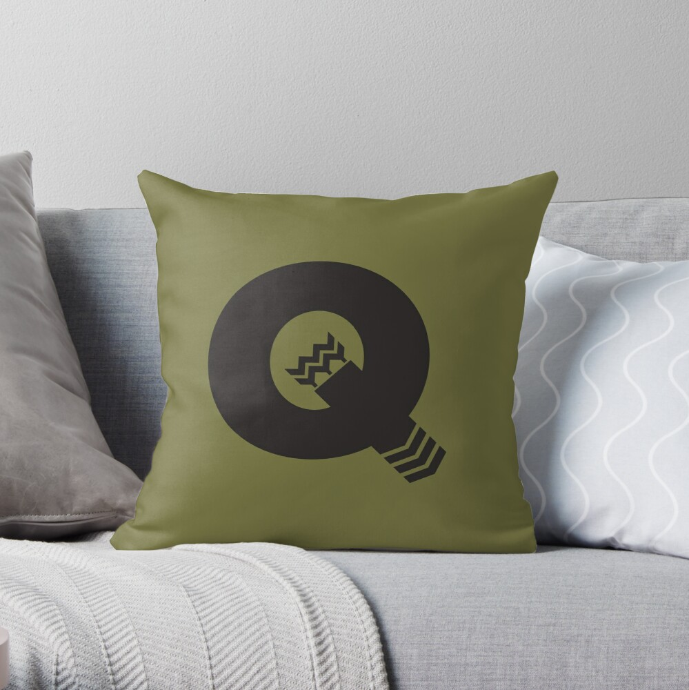 Q is for Quiver - Black Throw Pillow