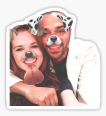 jackson and april dog filter sticker Sticker