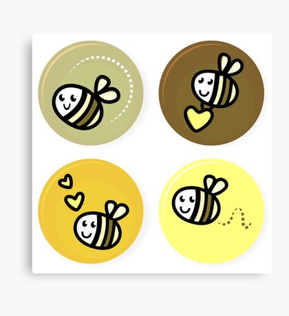 Vector set of happy bee characters Canvas Print