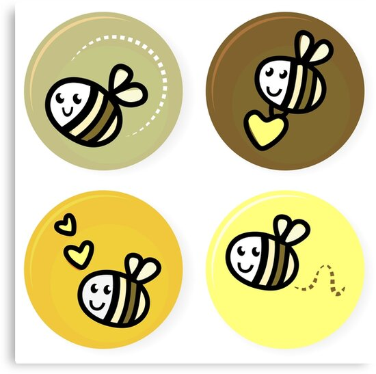 Vector set of happy bee characters by Bee and Glow Illustrations Shop