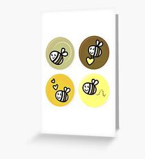 Vector set of happy bee characters Greeting Card