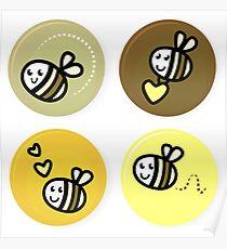 Vector set of happy bee characters Poster