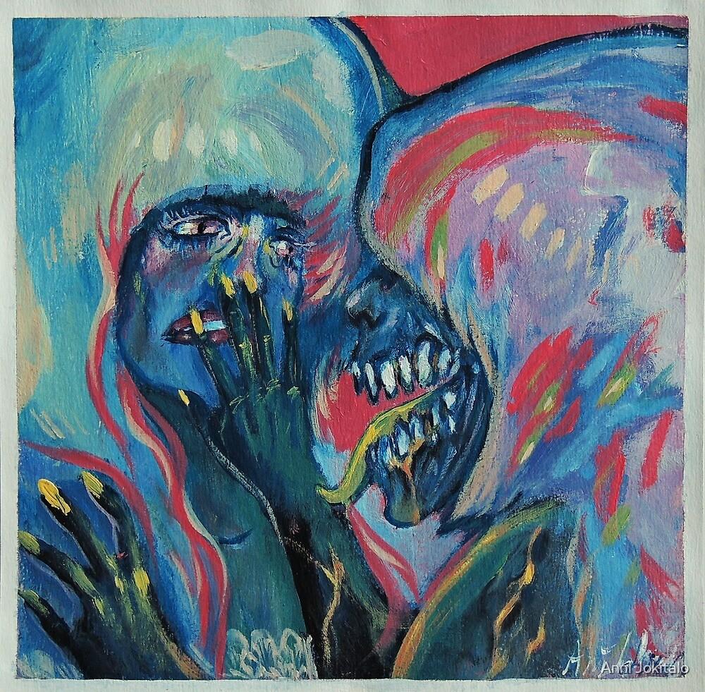 Jelly monster bonding painting by Anni Jokitalo