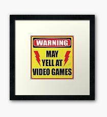 Gamer Warning Framed Print