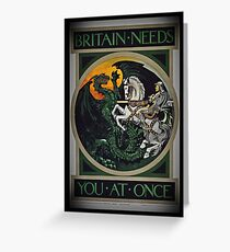 Knight and Dragon WWI Greeting Card