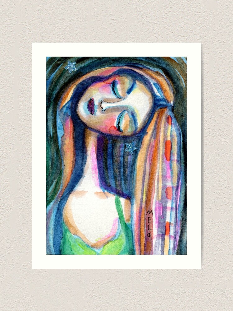 Alternate view of Dreamer Girl, Daydreaming Woman by Meloearth Art Print